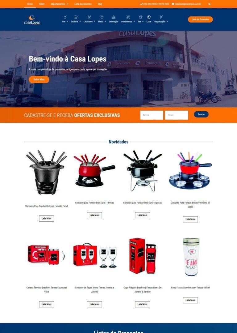 Criação de Sites - Casa Lopes